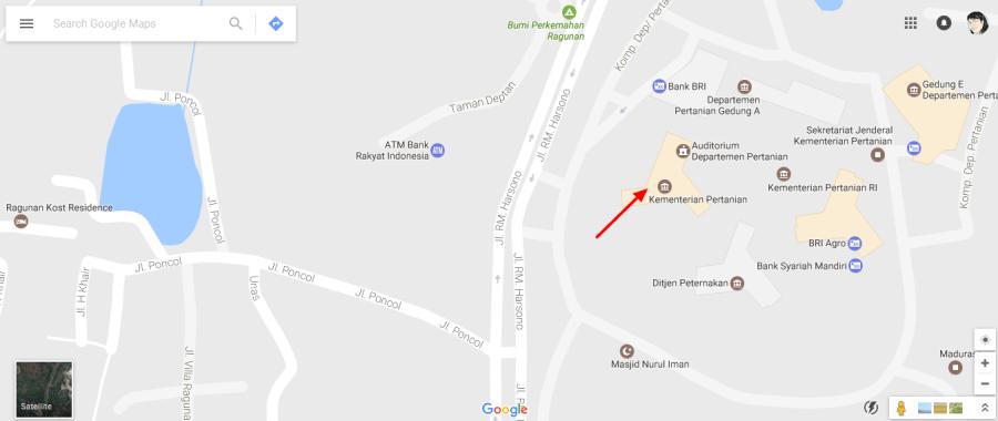 Peta Lokasi Fun Cooking Road Show @ Kementan RI, Ragunan, Jaksel.