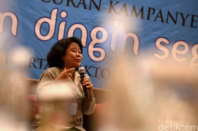 Direktur Kesmavet Kementerian Pertanian Sri Mukartini menghadiri peluncuran kampanye ayam dingin segar di Jakarta, Kamis (6/10).