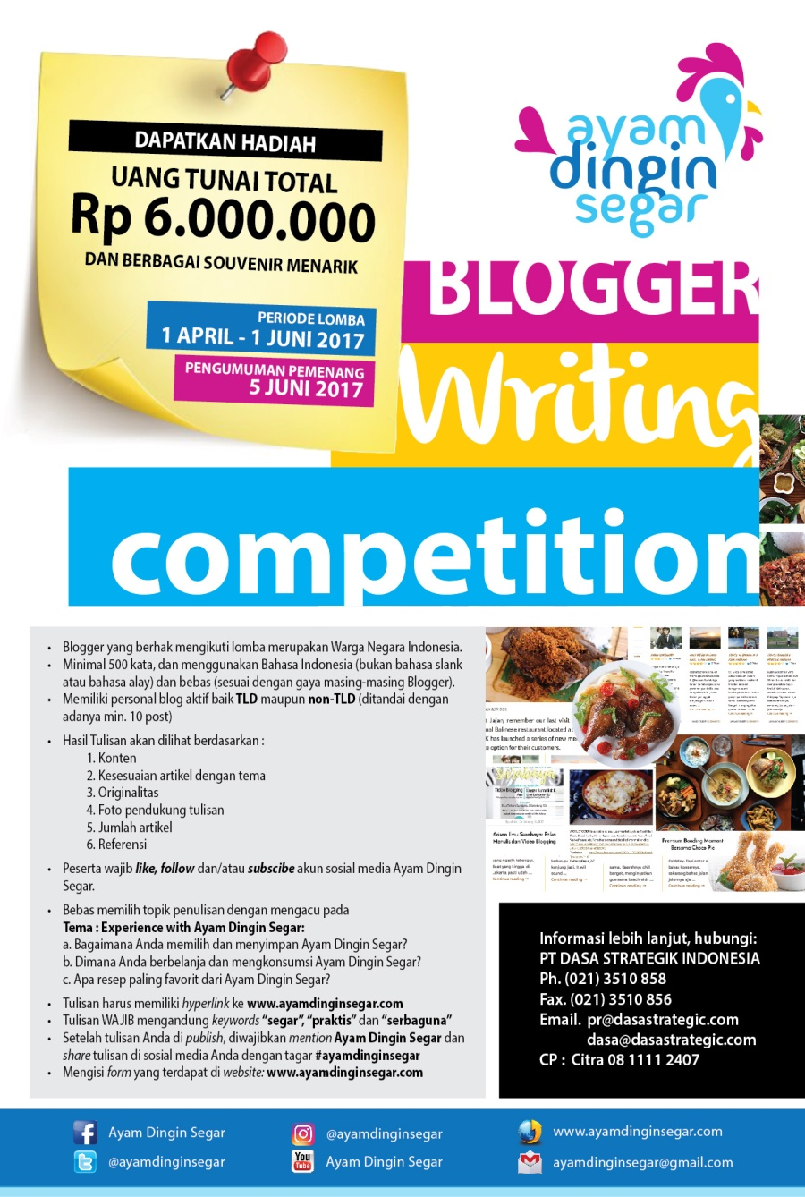 Ayam Dingin Segar Blogwriting Competition